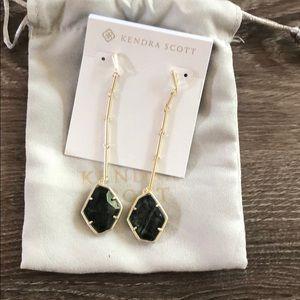 Charmian Gold Drop Earrings In Sage Mica